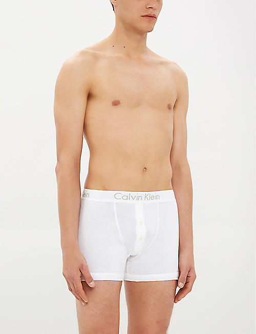 CALVIN KLEIN Button-fly slim-fit cotton-jersey boxer briefs