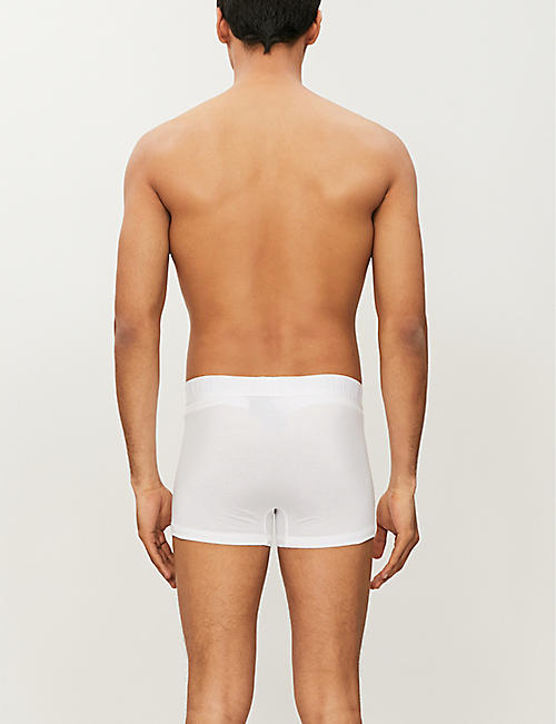 CALVIN KLEIN Ck black slim-fit stretch-cotton trunks