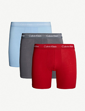 CALVIN KLEIN Pack of three classic-fit stretch-cotton boxer briefs
