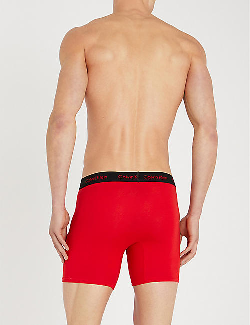 CALVIN KLEIN Pack of three Solid classic-fit cotton-jersey boxer briefs