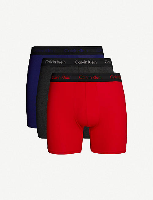 8bee764112 CALVIN KLEIN Pack of three Solid classic-fit cotton-jersey boxer briefs