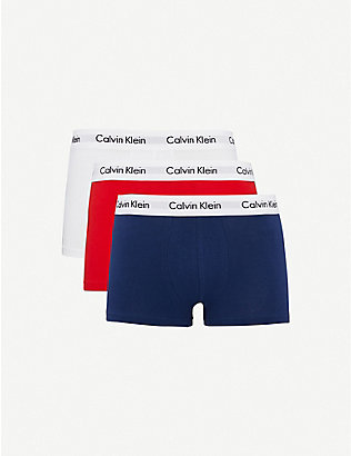 CALVIN KLEIN: Cotton Stretch pack of three low-rise stretch-cotton trunks