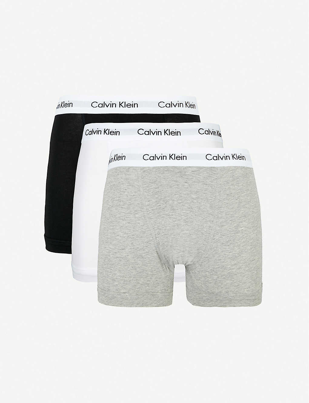 CALVIN KLEIN: Pack of three Cotton Stretch classic-fit stretch-cotton trunks