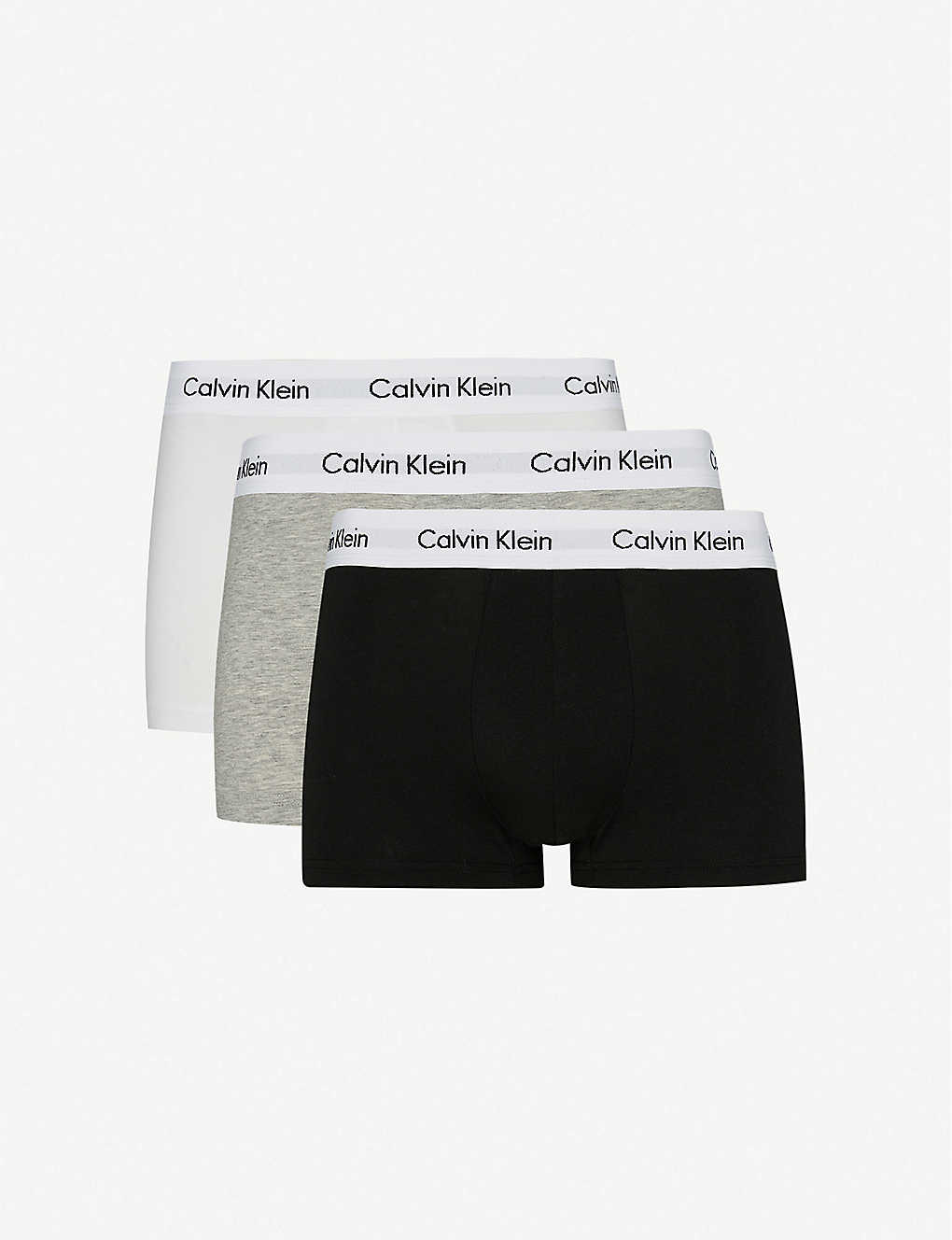 CALVIN KLEIN: Cotton Stretch pack of three low-rise trunks