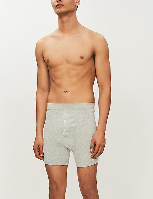 CALVIN KLEIN Button-fly cotton-jersey boxer briefs