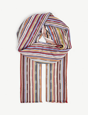 PAUL SMITH Striped twill scarf