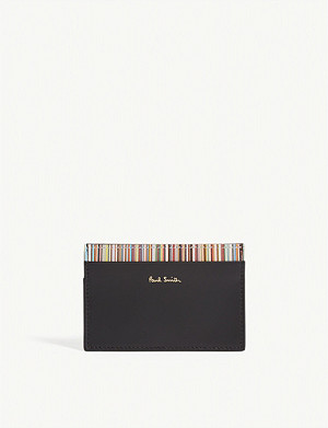 PAUL SMITH Art stripe leather card holder