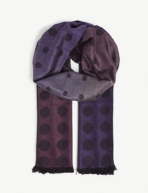 PAUL SMITH Polka-dot print wool and silk-blend scarf