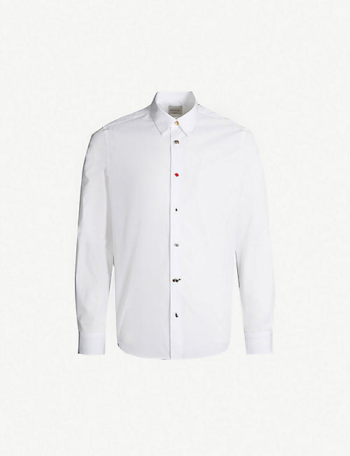 PAUL SMITH Charm-embellished slim-fit cotton shirt