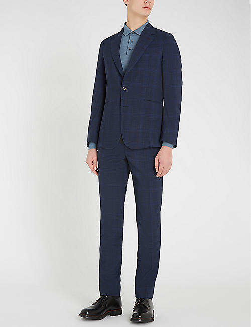 PAUL SMITH Prince of Wales checked slim-fit straight stretch-wool trousers
