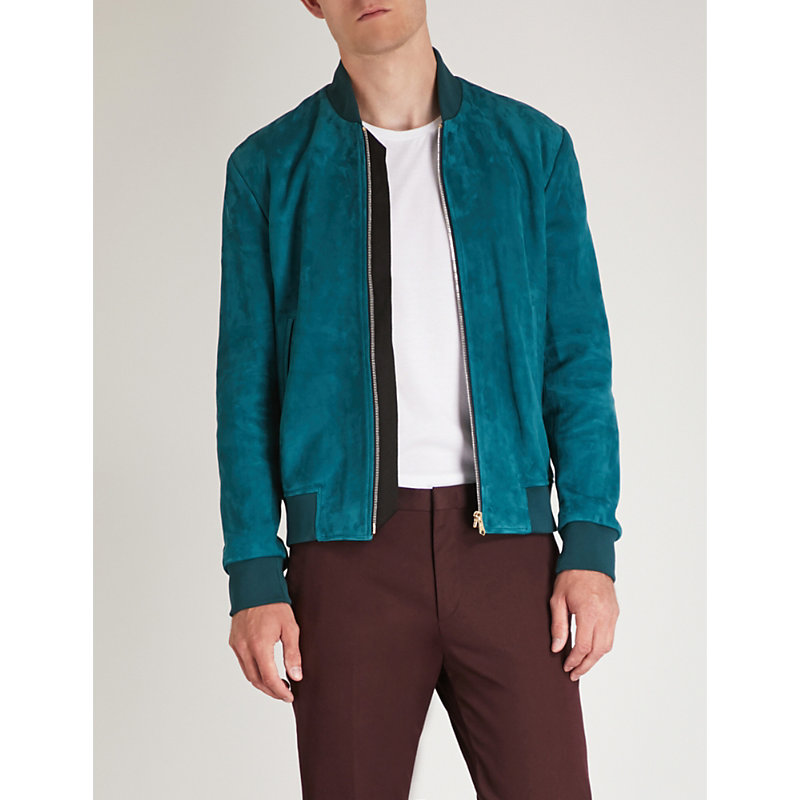 Zipped Bomber Jacket, Emerald Green