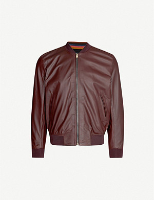 PAUL SMITH Stripe-trimmed leather bomber jacket