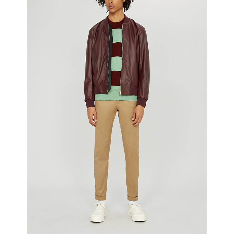 755839d0d Stripe-Trimmed Leather Bomber Jacket in Wine
