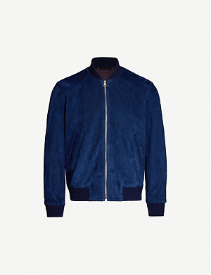 PAUL SMITH Stand-collar suede bomber jacket