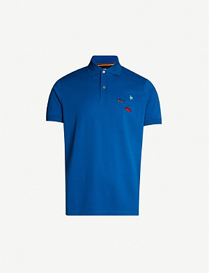 PAUL SMITH Embroidered cotton-piqué polo shirt