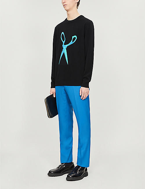 PAUL SMITH Scissors graphic-print fitted wool jumper