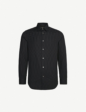 PAUL SMITH Graphic-embroidered tailored-fit cotton-jacquard shirt