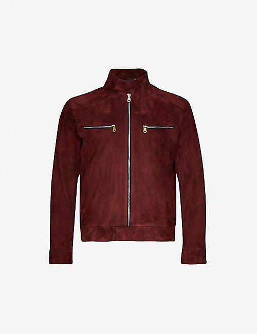 PAUL SMITH Suede stand-collar biker jacket