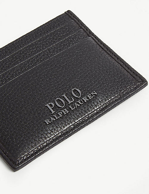 POLO RALPH LAUREN Logo grained leather card holder