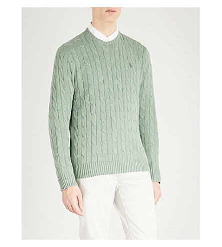 4a08a7b50634ee Polo Ralph Lauren Cable-Knit Cotton Sweater In Jersey Green Heather