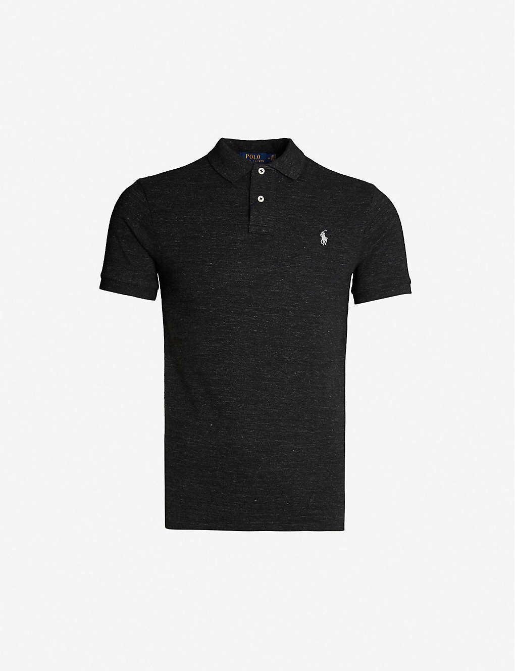 911dea927 Logo-embroidered slim-fit cotton polo shirt - Black marl heather ...