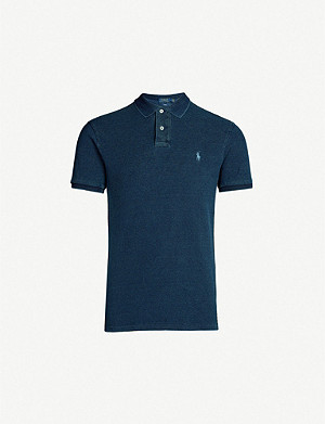 POLO RALPH LAUREN Logo-embroidered slim-fit cotton-piqué polo shirt