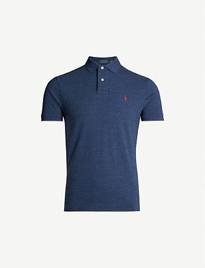 POLO RALPH LAUREN Slim-fit marled cotton-pique polo shirt