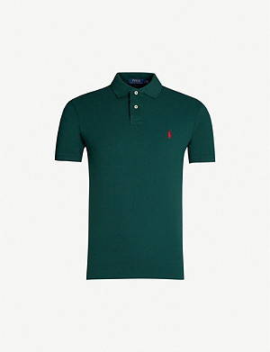 POLO RALPH LAUREN Logo-embroidered slim-fit cotton polo shirt