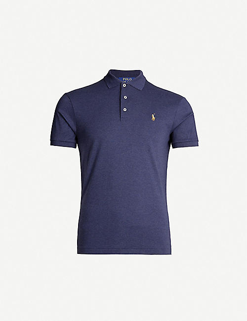 POLO RALPH LAUREN: Logo-embroidered slim-fit cotton-jersey polo shirt