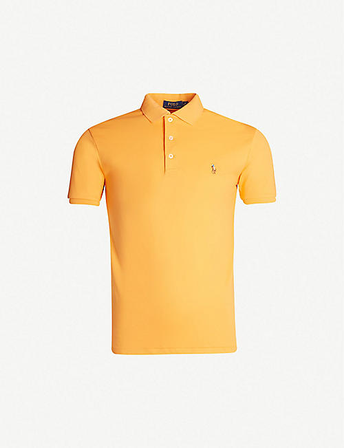 POLO RALPH LAUREN Logo-embroidered slim-fit cotton-jersey polo shirt