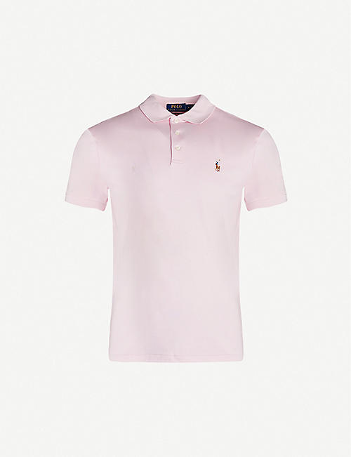 POLO RALPH LAUREN: Logo-embroidered slim-fit cotton-pique polo shirt