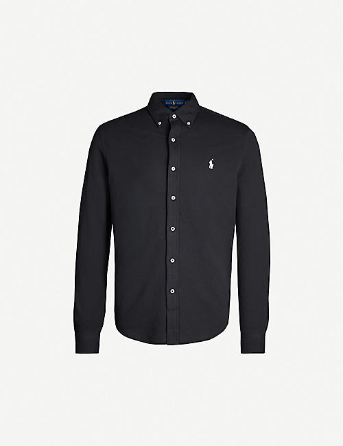 POLO RALPH LAUREN: Slim-fit embroidered cotton-mesh shirt