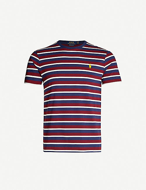 POLO RALPH LAUREN Striped logo cotton-jersey T-shirt