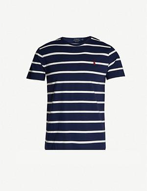 2aa02b92e9b1a4 POLO RALPH LAUREN - Striped logo cotton-jersey T-shirt | Selfridges.com