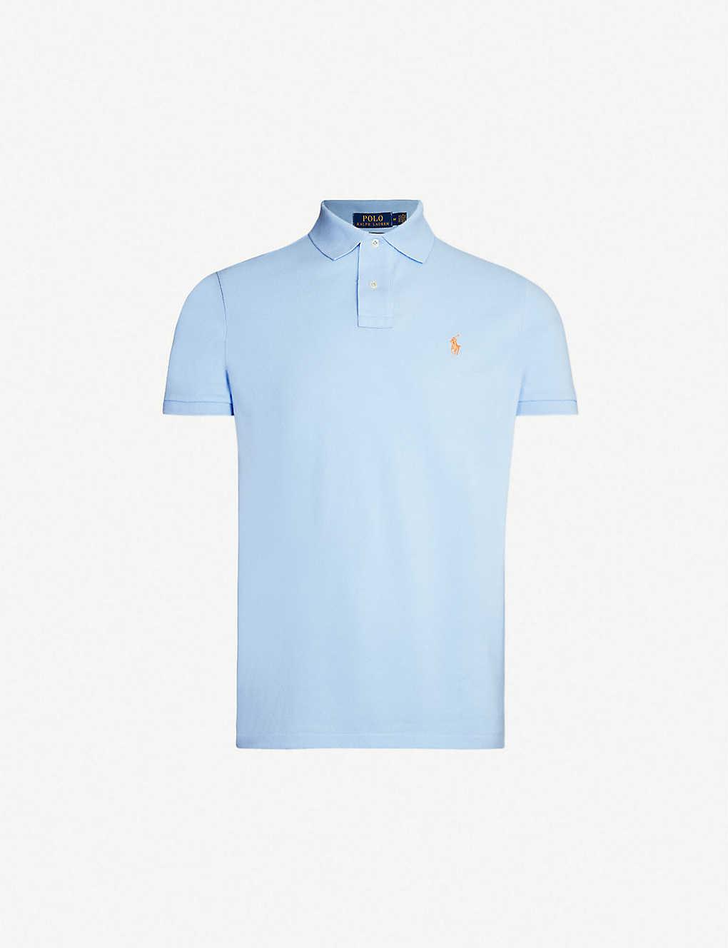 b1055314c Logo-embroidered custom slim-fit cotton-piqué polo shirt - Baby blue ...