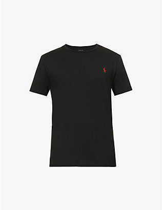 POLO RALPH LAUREN: Logo-embroidered custom slim-fit cotton-jersey T-shirt