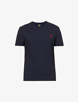 POLO RALPH LAUREN: Slim-fit logo-embroidered cotton-jersey T-shirt