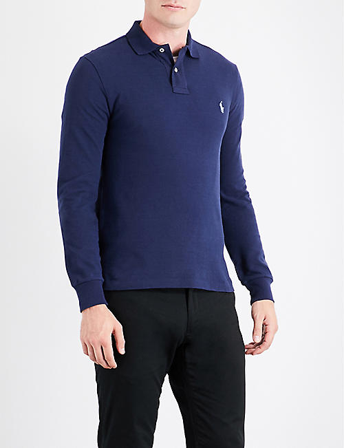 POLO RALPH LAUREN: Long-sleeved cotton-piqué polo shirt