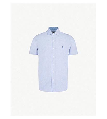 889a9b059a74 POLO RALPH LAUREN Slim-fit cotton-piqué shirt (Campus+blue+heather
