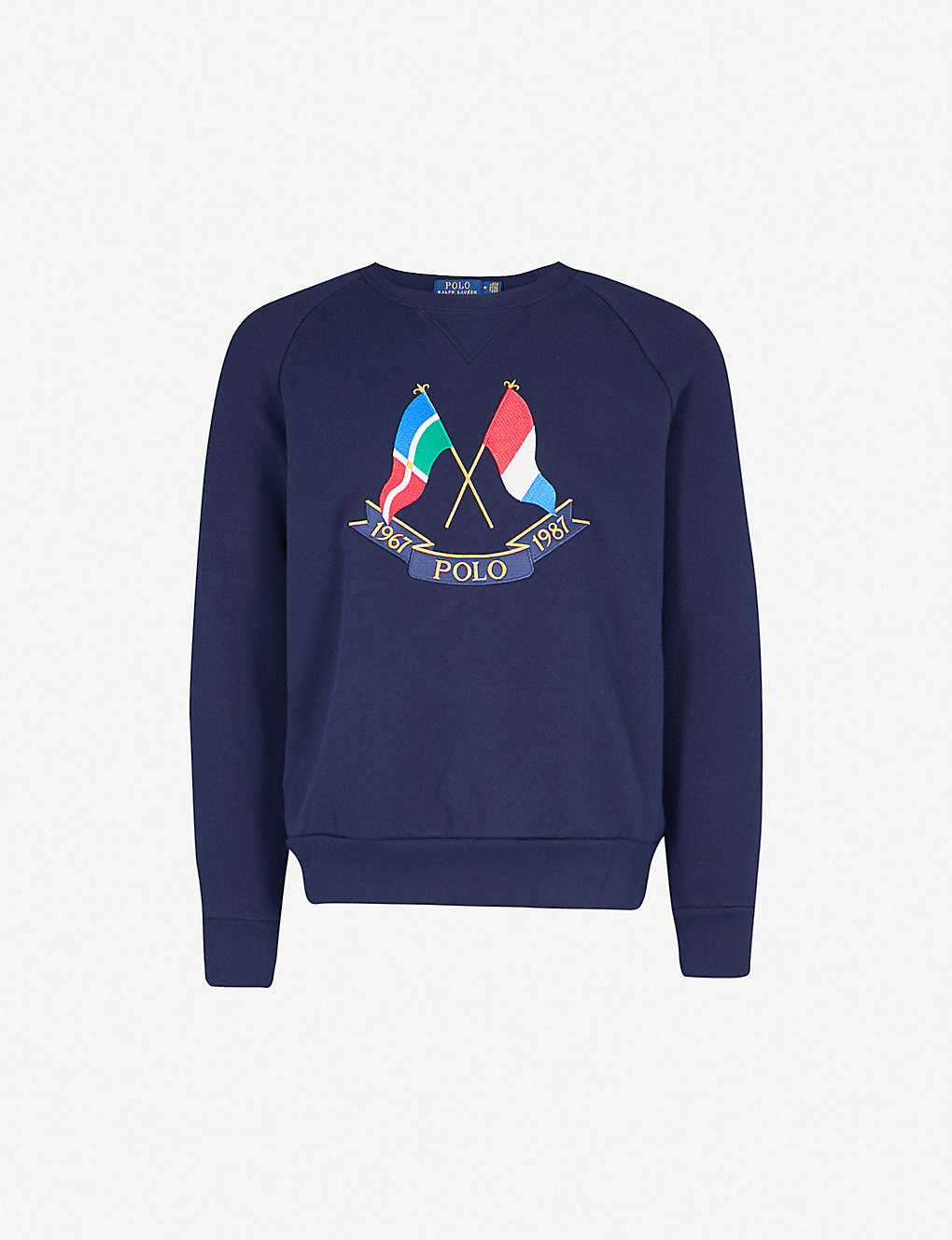 7637534a153 POLO RALPH LAUREN - Cross Flags cotton-jersey sweatshirt ...