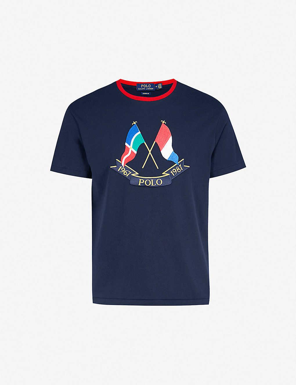 0b1fc461 POLO RALPH LAUREN - Cross Flags cotton-jersey T-shirt | Selfridges.com