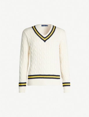 POLO RALPH LAUREN Contrast-trim cable-knit cotton and cashmere-blend jumper