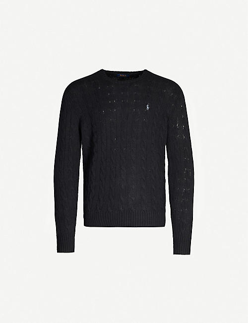 POLO RALPH LAUREN: Cable-knit wool and cashmere-blend jumper