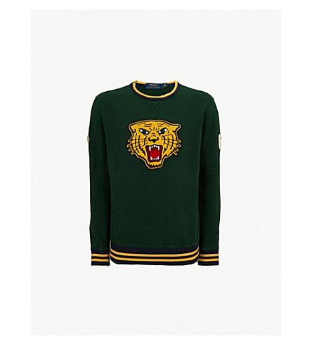 POLO RALPH LAUREN Tiger-applique cotton-blend sweatshirt (College+green