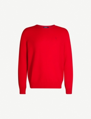 POLO RALPH LAUREN Embroidered-logo fine-knit cashmere jumper