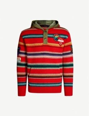 POLO RALPH LAUREN Striped hooded wool jumper