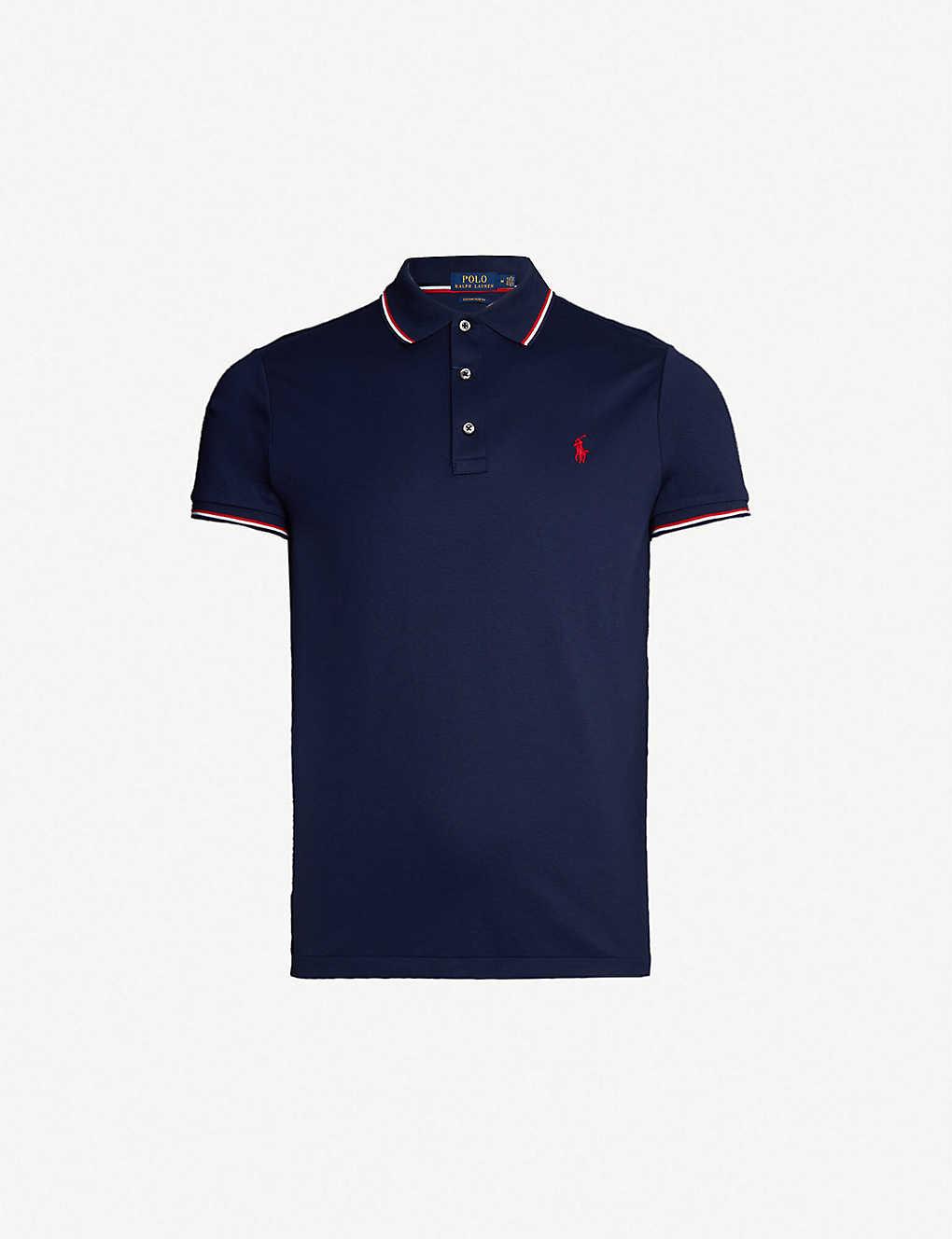 b1a1163a846 POLO RALPH LAUREN - Striped-trim cotton polo shirt