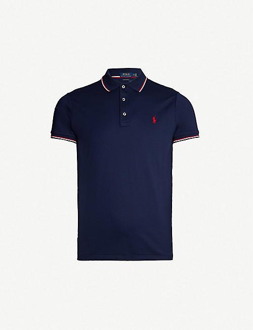df5d44fb9572b0 POLO RALPH LAUREN Striped-trim cotton polo shirt