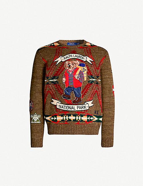 063c6a29535 POLO RALPH LAUREN Bear motif wool-blend jumper