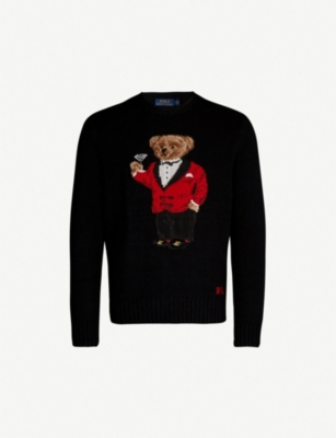 POLO RALPH LAUREN Bear-embroidered wool jumper